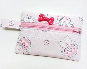 Pink coin purse, zipper pouch, zipper purse, change wallet, cat coin purse, little girl coin wallet, kids coin purse, kawaii change purse