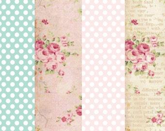Edible Shabby Chic Wafer Paper Sheet Set.  Vintage Spring, Floral Prints and Polka Dot, Four Sheet SET