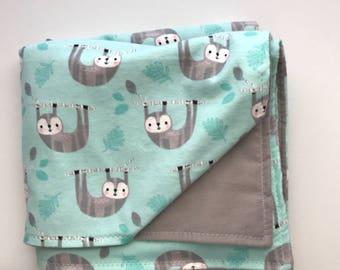 Sloth Baby Blanket Baby Shower Gift toddler Blanket Jungle Nursery Blanket Sloth Nursery Decor Flannel baby blanket Modern baby blanket