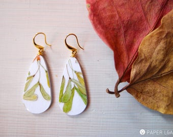 mini teardrops paper earrings SAMARA ACERUS, tiny dangle earrings, lightweight painted earrings in botanical style, ecofriendly dangle