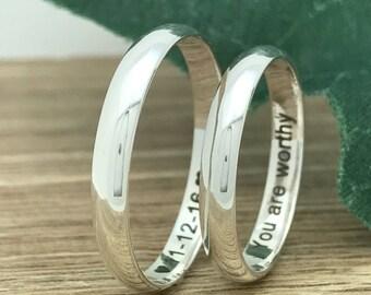 3mm Sterling Silver Silver Wedding Rings, Personalize Engrave Sterling Silver Wedding Band, His & Hers Wedding Band Rings SR1088