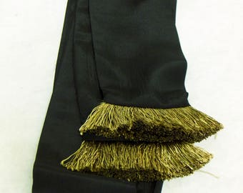 Black Rayon Fabric Sash with Bronze Fringed Ends for Pirate, Ren Faire, Steampunk, Cosplay