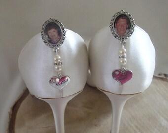 Ivory Vintage Inspired Memorial Shoe Clip Charms/Photo/Wedding/Bridal/Mum/Dad