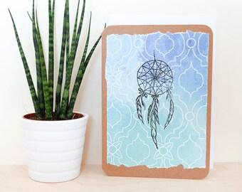 Dreamcatcher A6 Card; blank inside, blue, watercolour, print, feather, birthday, thank you, greetings card, mandala, illustration, summer