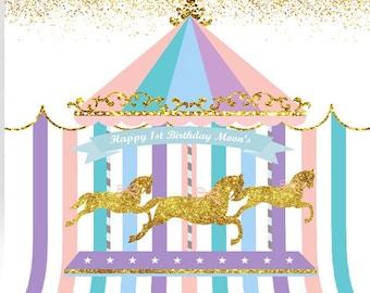 My Pastel Carousel  Backdrop /Carousel backdrop/ carousel/ first birthday/1st birthday backdrop/ birthday party