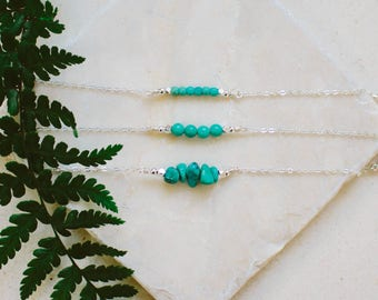 Turquoise Bead Bar Necklace - Turquoise Gemstone Necklace - Tiny Gemstone Necklace - Turquoise Bar Necklace - Turquoise Necklace