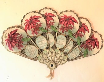Antique 1911 Victorian Christmas Calendar Fan
