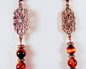 TIGER EYE EARRINGS, tiger eye jewelry, gemstone earrings, gemstone jewelry, brass focals, brass earwires, stone of protection - 2035G