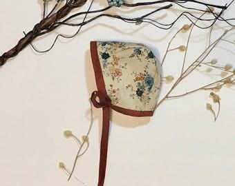 Newborn Bonnet Floral, RTS, Fall Bonnet, Pilot Bonnet, MultiFloral, Blue flowers, Earth tones bonnet