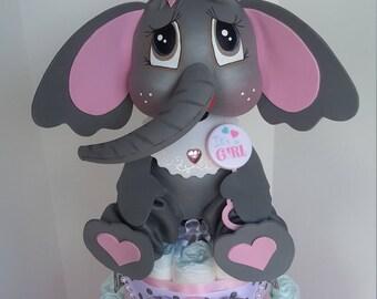 Diaper cake, baby elephant Diaper Cake, Diaper Cake for baby girl