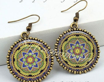 Boho Jewelry, Bohemian Necklace and Earrings, Mandala,Ethnic, India, Boho Style Accessories, Artistic, Unique, Gift for Women