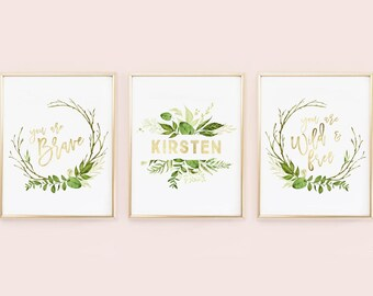 Nursery Greenery Gold Boho Nursery - Personalized Print - You are Brave - You are Wild and Free - Green and Gold faux Foil, Nursery wall art