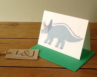 Triceratops, dino lover, dinosaur card, greeting card, hand illustrated, card for kids, dinosaur lover, dinosaur gift, dinosaurs