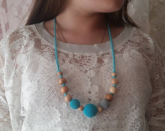 Teething Necklace Nursing Necklace Necklace for mom Turquoise Necklace Breastfeeding Blue Necklace Baby toy