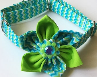 Aqua and Lime Green Chevron Flower Collar for Summer