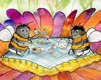 Bumblebee Afternoon Tea art print- Childrens Illustration, Watercolour Painting, Nursery Print, Whimsical Art