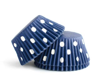 Navy Polka Dot Cupcake Liners // Blue Baking Cups (Qty 50)