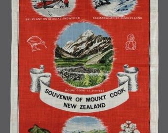 Vintage New Zealand Souvenir Of Mount Cook Pure Linen Tea Towel 20 x 30