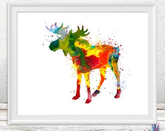 Watercolor Moose art print - Woodland animal - Moose art print- colorful art
