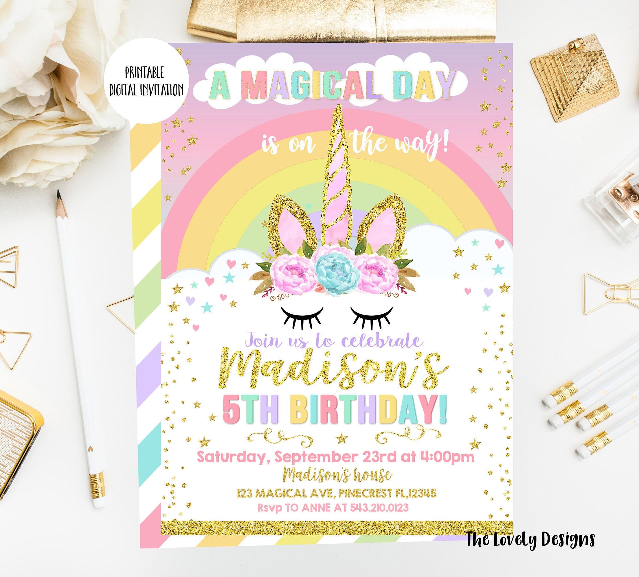 Unicorn Invitation, Unicorn Birthday Invite, Magical Unicorn Invite, Floral Pink Gold,Face ...
