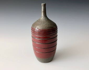 Modern handmade pottery black stoneware with red underglaze thin-necked bottle vase Haight Pottery Company