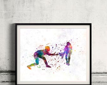 Rugby women player 02 - poster watercolor wall art gift splatter sport rugby illustration print Glicée artistic  - SKU 2816