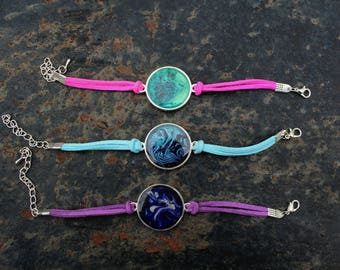 Choose from 1 of 3 Hand Painted Bracelets | Pink, Blue & Purple Colourful Suede Bracelets