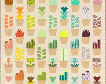 Greenhouse quilt pattern - Elizabeth Hartman, Oh Fransson, modern quilt pattern, succulent quilt, succulents, plant quilt, gardener quilt