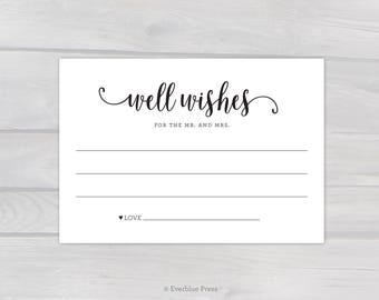 Well Wishes for the Mr and Mrs Card Printable - Black or Navy | Instant Download PDF | Wedding Guest Note Advice Card | Bridal Party Shower