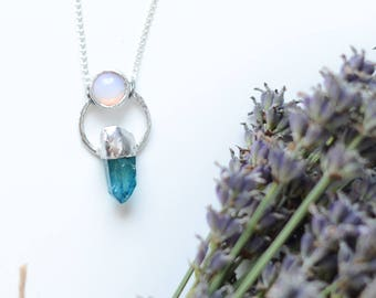 blue quartz point necklace with an opalite on top / silver plated chain  /
