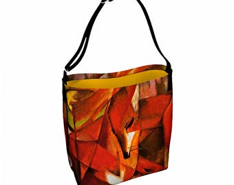Fox Shoulder Bag - Fox Tote Bag - Everyday Bag - Woman Messenger Bag - Waist Bag - Woman Hip Pouch - Crossbody Bag - Canvas Messenger Bag