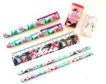 Flamingo / tropical stationery set   ruler, pens, pencils, eraser, pencil sharpener   flamingos   summer