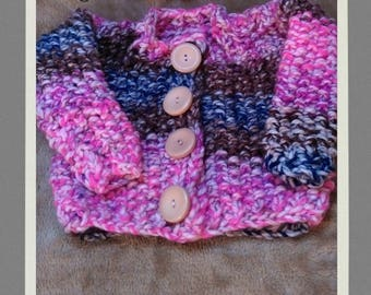 """Girls chunky hand knit cardigan and hat set 20"""" chest pink blue brown self patterning colour chunky vintage buttons"""