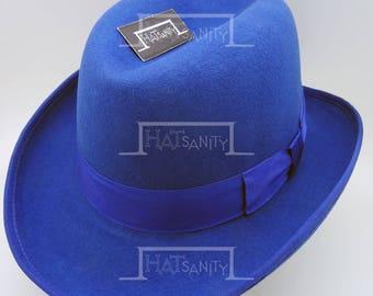553a2d2730a VINTAGE Wool Felt Formal Dura Homburg Top Hat - Blue