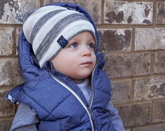 Lightweight Slouchy Beanie / Grey Stripes Baby Slouchy Beanie / Hipster Kids Hat