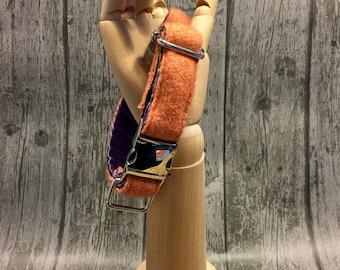 Dog Collar, Orange & Purple, Cotton/lambswool knitted dog collar