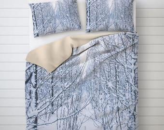 Winter Duvet Set, Snowy Branch Art, Tree Duvet Cover, Duvet Cover Set, Twin Duvet Covers, Photo Print