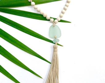 Sea glass necklace - Yoga tassel necklace - Yoga necklace - Mala Necklace - 108 Mala - 108 mala beads - Mala boho necklace - Yoga Jewelry