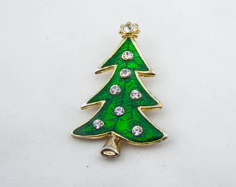 Vintage LIA Signed Gold Tone Green Enamel Rhinestone New Year Christmas Tree Brooch