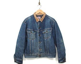 Vintage Lee Storm Rider Denim Jacket - 70s/80s Faded Denim Lee Jean Jacket - 70s/80s Lee Storm Rider Blanket Lined Distressed Denim Jacket