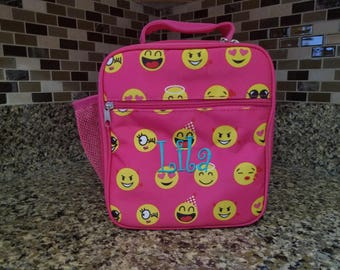 Pink Emoji lunch bag with Personalized Name or Monogram-School lunch bag