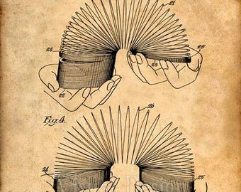 Slinky Patent Art Print, Slinky Patent Poster, Patent Prints