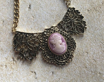 Cameo Pendant, Cameo, Pendant, Necklace, Gift Ideas, For Her, Statement Necklace, Vintage Look