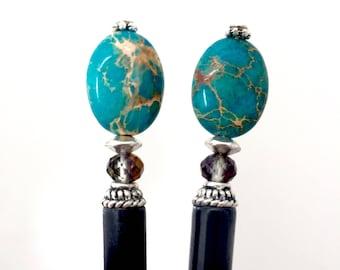 Set of 2 Blue Jasper Tidal Hair Sticks- FREE US SHIPPING