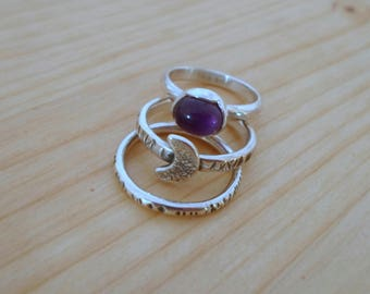 Silver Stacking ring set, amethyst silver ring, minimalist jewelry, set of three rings, stacking rings, silver thin rings, half moon ring
