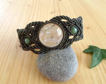 Crystal quartz macrame bracelet, macrame jewelry, crystal healing, hippie bracelet, quartz jewelry, tribal bracelet, bohemian jewelry