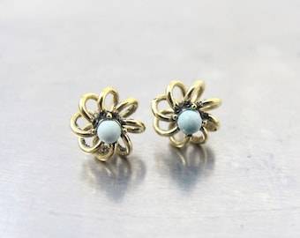 "Turquoise Gold Stud Earrings, 14K Yellow Gold Flower Turquoise Bead Studs, Something Blue .25"" 1/4 Inch"
