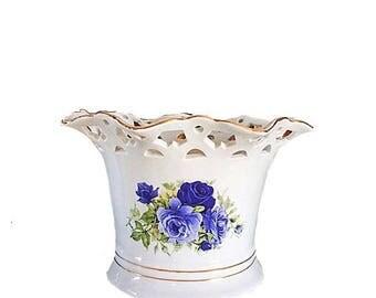 Formalities Baum Bros, Formalities Vase, Blue Victorian Rose Collection, Vintage Baum Bros Victorian, Lattice Vase Formalities China