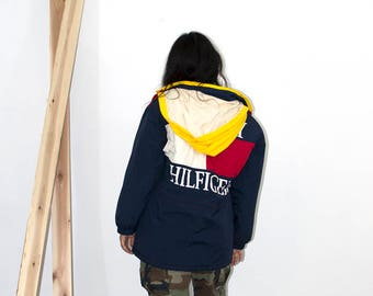 RESERVED 90s Tommy Hilfiger Logo Jacket / Vintage Puffy Windbreaker / Primary Colors / Small-Extra Large
