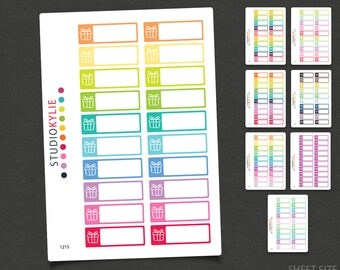 Birthday Reminders -  Planner Stickers  - Repositionable Matte Vinyl - Gift Icons - Gift Reminders